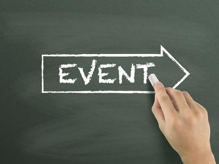 event word written by hand on blackboard photo