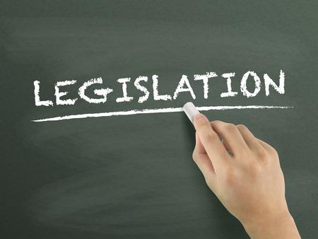 commandment: legislation word written by hand on blackboard