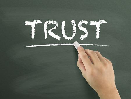 sincerity: trust word written by hand on blackboard