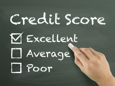 credit score survey written by hand on blackboard Imagens - 38639725