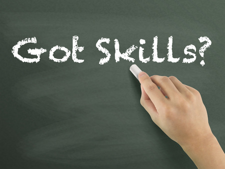 able to learn: got skills words written by hand on blackboard Stock Photo