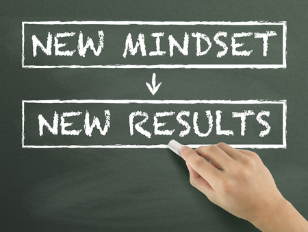 new mindset make new results written by hand on blackboard Stock Photo