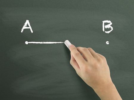 end of the line: point A to B drawn by hand isolated on blackboard Stock Photo