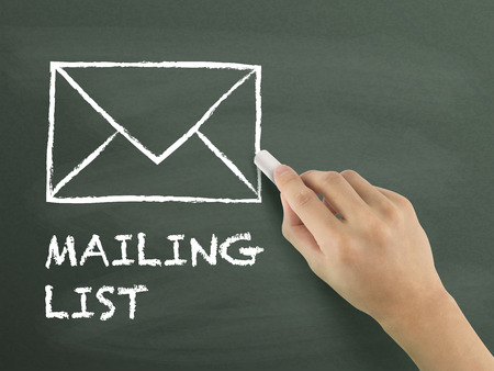 mailing: mailing list drawn by hand isolated on blackboard