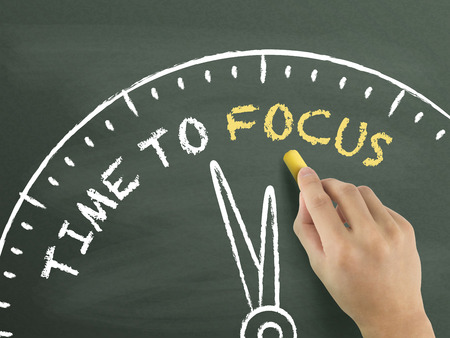 distinctness: time to focus written by hand on blackboard Stock Photo