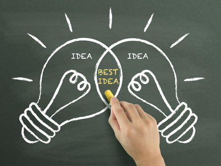 best idea: best idea light bulbs concept drawn by hand over chalkboard