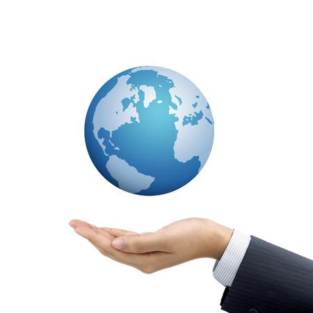 hand holding globe: businessmans hand holding globe symbol over white background