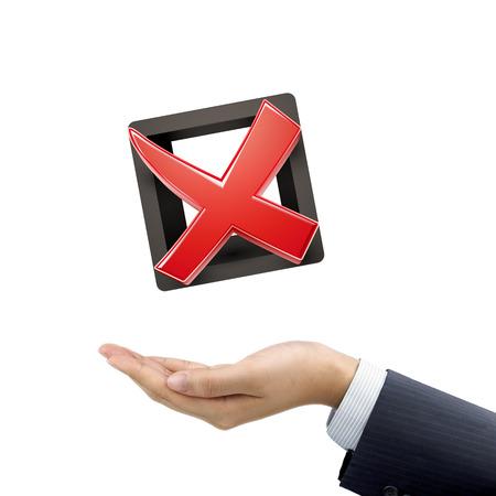 cross mark: businessmans hand holding red cross mark over white background