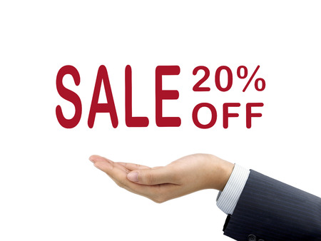 sale off: sale 20 percent off holding by businessmans hand over white background Stock Photo