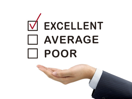 satisfactory: excellent chosen by businessmans hand over white background Stock Photo