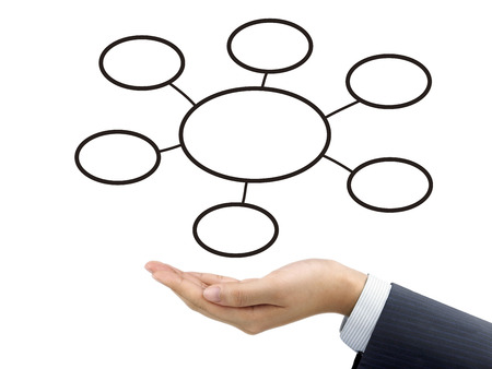 gist: business diagram holding by businessmans hand over white background
