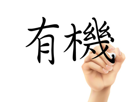 traditional chinese: traditional Chinese words for Organic written by 3d hand on a transparent board