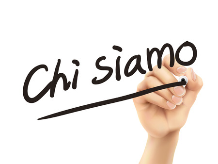Italian words for About us written by 3d hand on a transparent board