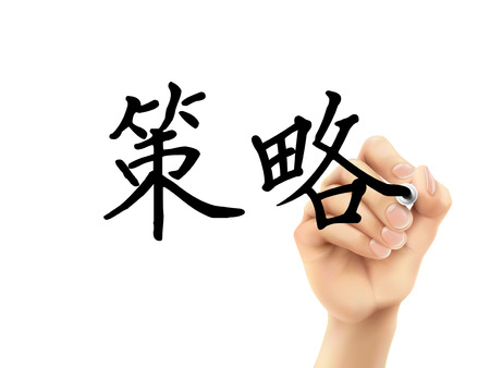 simplified: simplified Chinese words for Strategy written by 3d hand on a transparent board