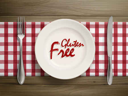 free plate: top view of gluten free written by ketchup on a plate over wooden table Illustration