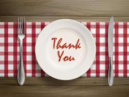 top view of thank you written by ketchup on a plate over wooden table