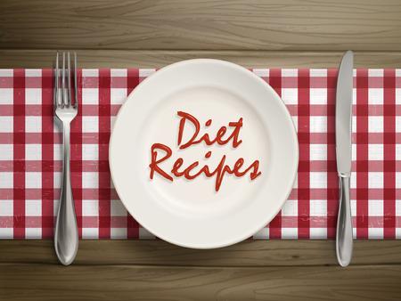 나무 테이블 위에 접시에 케첩에 의해 작성된 다이어트 조리법의 평면도 일러스트