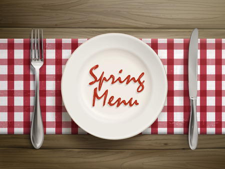 top menu: top view of spring menu written by ketchup on a plate over wooden table Illustration