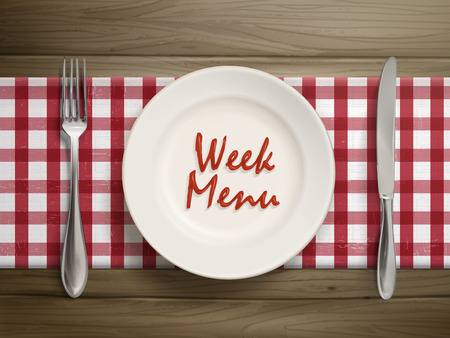 top menu: top view of week menu written by ketchup on a plate over wooden table