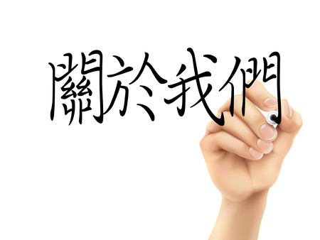 traditional chinese: traditional Chinese words for About us written by 3d hand on a transparent board