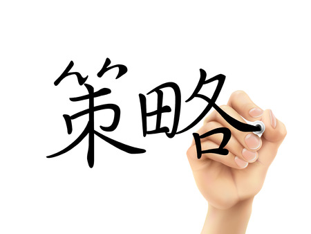 traditional chinese: traditional Chinese words for Strategy written by 3d hand on a transparent board
