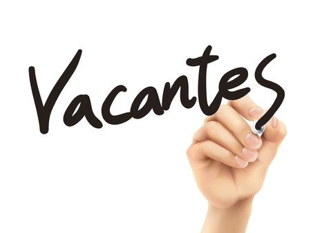 vacancies: Spanish words for vacancies written by 3d hand on a transparent board Illustration