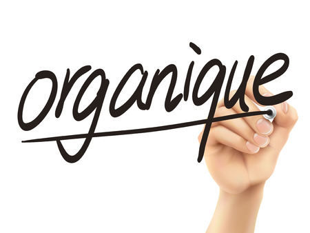 french board: French words for Organic written by 3d hand on a transparent board