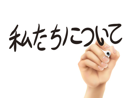 computer language: Japanese words for About us written by 3d hand on a transparent board
