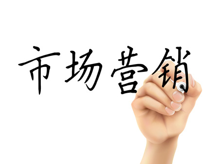 simplified: simplified Chinese words for Marketing written by 3d hand on a transparent board