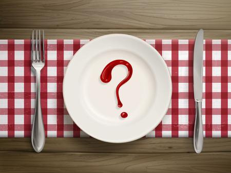 bovenaanzicht van vraagteken getrokken door ketchup op een plaat over houten tafel