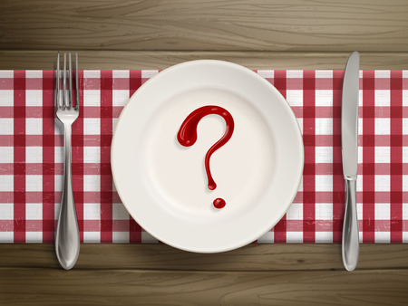 food questions: top view of question mark drawn by ketchup on a plate over wooden table Illustration