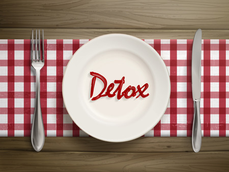 detox: top view of detox word written by ketchup on a plate over wooden table Illustration