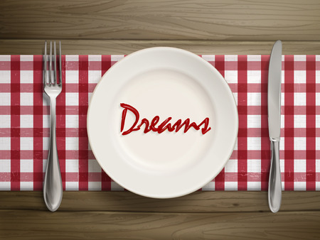 top view of dreams word written by ketchup on a plate over wooden table Ilustração