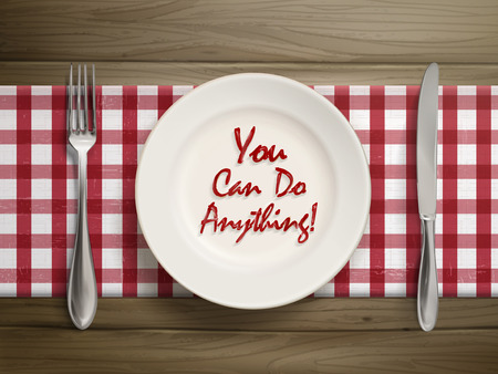 anything: top view of you can do anythings written by ketchup on a plate over wooden table Illustration