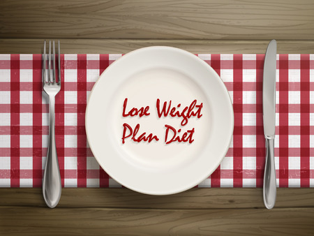 over weight: top view of lose weight plan diet written by ketchup on a plate over wooden table