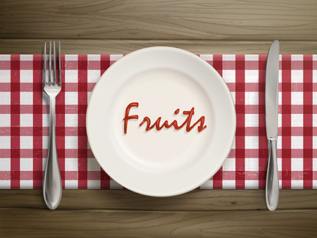 top view of fruits word written by ketchup on a plate over wooden table