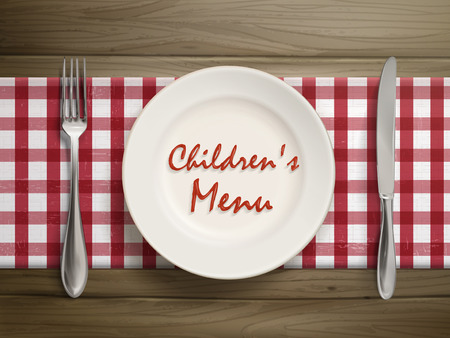top menu: top view of childrens menu written by ketchup on a plate over wooden table