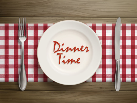 dinner setting: top view of dinner time written by ketchup on a plate over wooden table Illustration
