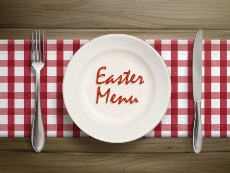 top menu: top view of easter menu written by ketchup on a plate over wooden table