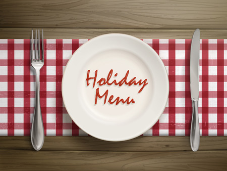 top menu: top view of holiday menu written by ketchup on a plate over wooden table