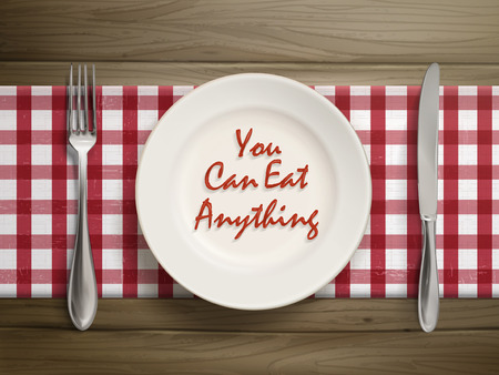 anything: top view of you can eat anything written by ketchup on a plate over wooden table Illustration