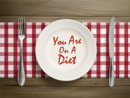 top view of you are on a diet written by ketchup on a plate over wooden table Vector