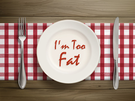 am: top view of I am too fat written by ketchup on a plate over wooden table