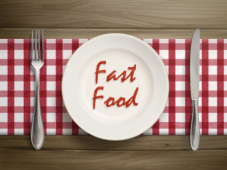 wooden table top view: top view of fast food written by ketchup on a plate over wooden table Illustration