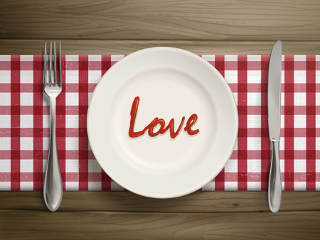 sweet sauce: top view of love word written by ketchup on a plate over wooden table