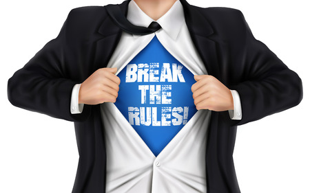 underneath: businessman showing Break the rules words underneath his shirt over white background Illustration