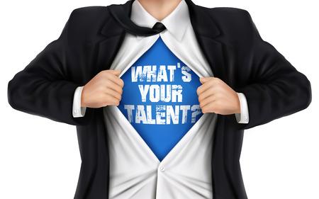 empresario mostrando Cuál es tu talento palabras debajo de su camisa sobre fondo blanco