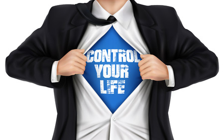 underneath: businessman showing Control your life words underneath his shirt over white background Illustration
