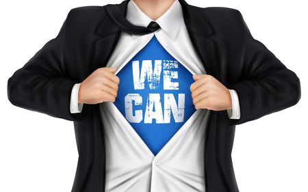 can yes you can: businessman showing We can words underneath his shirt over white background Illustration