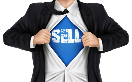 underneath: businessman showing Sell word underneath his shirt over white background